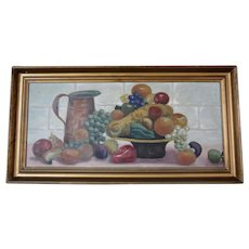 Early 1900s Still Life Table of Fruit Primitive Oil on Canvas Painting by Ina S. Martin in Original Gilt Wood Frame