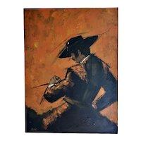 "Signed Vegas Huge 40x30"" Mid-Century Modern MCM Spanish Bullfighting Matador Man Orange & Black Thick Impasto Oil Painting"