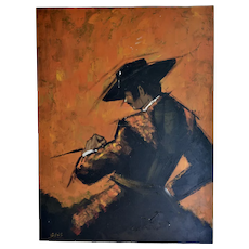 "Signed Vegas Huge 40x30"" Mid-Century Modern MCM Spanish Bullfighting Matador Man Orange & Black Thick Impasto Oil Painting"