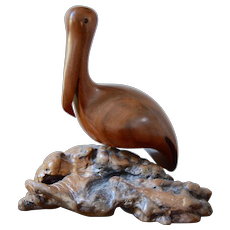 c1970s Artisan Signed 'Bruce Stamp' Burl Wood Folk Art Handcrafted Pelican Bird Sea Life Sculpture