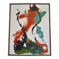 c1975 Signed Abstract Orange, Blue & Shades of Green Oil on Canvas Painting in Custom Wood Frame