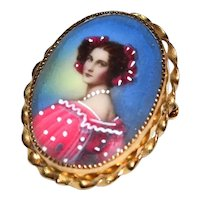 12K Gold Filled Handpainted Lady Portrait Oval Twistwork Pendant / Brooch / Pin ~ Made in Italy