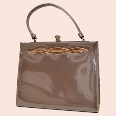 c1960s Crown Lewis Signed Mid-Century Chocolate Brown Patent Leather Fancy Clasp Handbag Purse