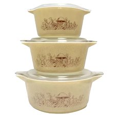 6-Pc Pyrex Corning Forest Fancies Mushroom 2.5 QT, 1.5 QT, 1 QT Casserole Dish Set w/ Original Lids