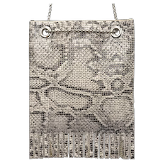 c1970s Rare Whiting & Davis Black & Cream Snakeskin Pattern Metal Mesh Tassel Fringe Purse w/ Long Silvertone Chain