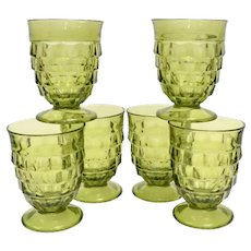 c1960s Set of 6 Colony Whitehall Avocado Green Cubist Footed Water 9 oz Tumbler Glasses Goblets