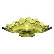 Viking Glass Epic Avocado Green Mid-Century Art Glass Bon Bon Candy Dish