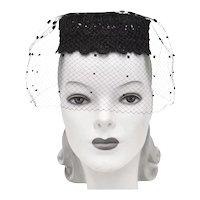 c1950s Coifettes by Miss Eileen Designer Black Lace & Pom-Pom Veil Pillbox Hat