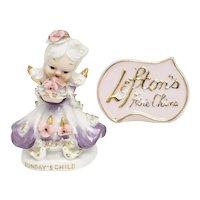 Lefton China Hand Painted 'Sunday's Child' Porcelain Figurine