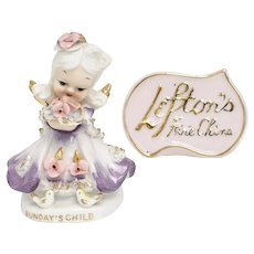 Lefton China Hand Painted 'Sunday's Child' Porcelain Figurine