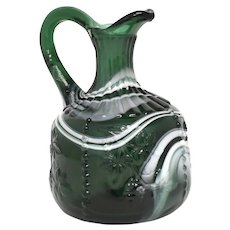Westmoreland Deep Green & White Slag Glass Grapes, Leaf, Beadwork Cruet Pitcher