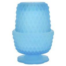 Indiana Glass Blue Satin Diamond Point Footed Pedestal Fairy Lamp