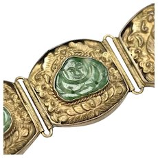 Antique Chinese Export Silver Handcrafted Carved Green Jade Buddha Gold Wash Hinged Link Bracelet