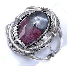 Huge Native American Silversmith Signed Sterling Silver Huge Purple/Black Sugilite Gemstone Feather Cuff Bracelet