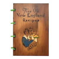 "c1976 ""Fine Old New England Recipes"" 300 Recipe Solid Wood Pyrography Hardcover Cookbook"
