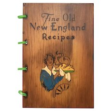 """c1976 """"Fine Old New England Recipes"""" 300 Recipe Solid Wood Pyrography Hardcover Cookbook"""