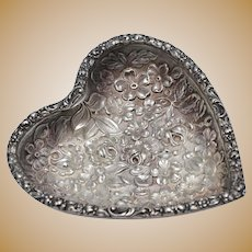 Stieff Sterling Silver Floral Repousse Heart Shaped Pin Tray