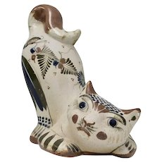 Signed Santana Large Handpainted Tonala Mexico Folk Art Pottery Crouching Cat Figural Sculpture