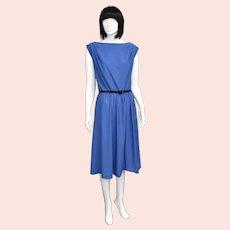 c1970s Toni Todd Designer Royal Blue Scoop Back Mid-Length Dress