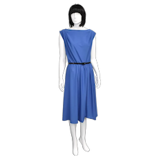 c1970s Toni Todd Designer Royal Blue Scoop Back Mid-Length Dress