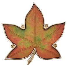 Signed KC Large Textured Glass & Rhinestone Colorful Maple Leaf Pin/Brooch
