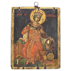 Hand-Painted Greek Orthodox Saint Catherine Byzantine Religious Icon Wood Wall Hanging Art Plaque