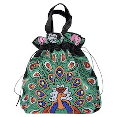 Large Handcrafted Colorful Beaded Peacock & Rose Black Drawstring Handbag Purse