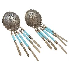 Signed Q.T. Sterling Silver Southwestern Style Concho & Blue Turquoise Bead Fringe Earrings