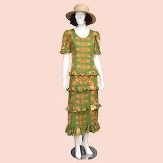 Margo Howell Hawaii USA Green & Orange Leaf Motif Signature Print Tiered Ruffle Maxi Length Summer Tiki Dress