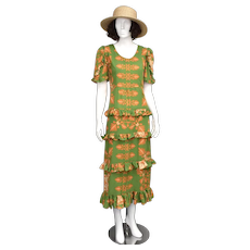 Margo Howell Hawaii USA Green & Orange Leaf Motif Signature Print Tiered Ruffle Maxi Length Summer Tiki Dress