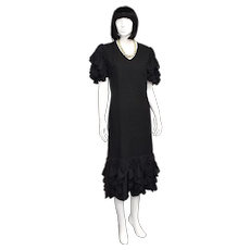 Margo Howell Hawaii USA Black Ruffle Eyelet Midi Length Dress