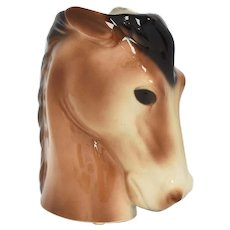c1950s Royal Copley Brown Bay Glazed Ceramic Horse Head Vase Planter