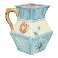 Attributed to Joseph Roth Aesthetic Movement Blue & Pink Pastel Flower Relief Glazed Ceramic Pitcher Jug or Creamer
