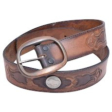 Leegin Brand Genuine Tooled Leather Belt w/ 5 Cent Nickel Buffalo Coin & Brass Buckle