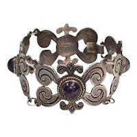 Pre-1948 Mexico Sterling Silver Purple Amethyst Wide Scrollwork Link Bracelet