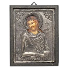 Sterling Silver 950 Jesus Christ Portrait Painting Religious Christian Byzantine Icon Wood Plaque Wall Hanging - Made in Greece