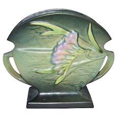 c1945 Roseville Pottery Art Deco Freesia Flower Green Matte Glaze Ceramic Art Pottery Fan Vase or Planter
