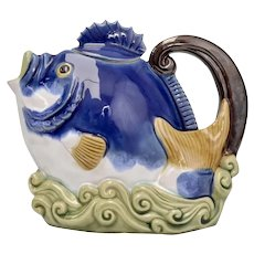 c1991 Nouveau Majolica Blue Fish Glazed Ceramic Tea or Coffee Pot