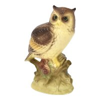 Japan Made Hand-Painted Great Horned Owl Bird Figural Porcelain Figurine