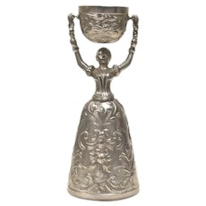 Fein Zinn Pewter Ornate Bride & Groom Wedding or Marriage Toasting Chalice Cup - Made in Germany