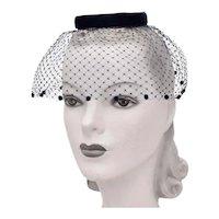 c1940s Dark Navy Blue Velvet Ring Hat w/ Pom Pom Trim Netted Birdcage Veil