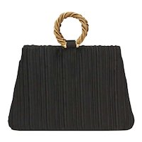Crown Lewis Designer Black Ribbed Fabric Evening Purse Handbag w/ Double Wreath Goldtone Metal Handles