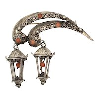 800 Silver Chinese Export Large 3D Asian Lantern Red Coral Gemstone Cannetille Brooch/Pin