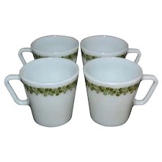 c1970s Pyrex for Corning Spring Blossom Crazy Daisy Set of 4 White Milk Glass D-Handle Mugs