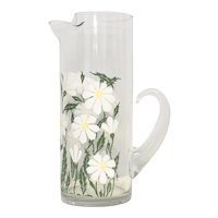 """Spring Time Textured Daisy Flower Decal 11"""" Tall Glass Handled Pitcher"""