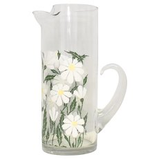 "Spring Time Textured Daisy Flower Decal 11"" Tall Glass Handled Pitcher"