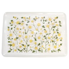 Set of 4 Spring Time White & Yellow Daisy Flower 18x12 Durable Hard Plastic Patio Trays