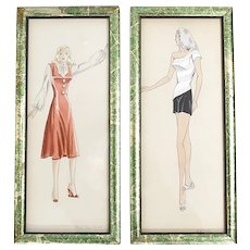 c1970s Artist 'Mary Alice Tuttle' Set of 2 Ladies' Fashion Sketch Color Illustrations in Wood Frame