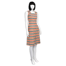 Diolen Loft 'Reidinger Double Jersey' Navy, Red, & Yellow Horizontal Striped Sheath A-Line Dress