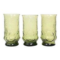Set of 3 Anchor Hocking Rain Flower Avocado Green Daisy Motif Textured Glass Tumbler Glasses